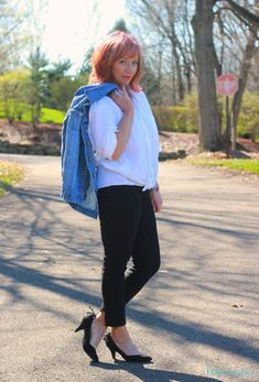 FASHION FAIRY DUST STYLE BLOG// Black Ankle Pants, Black Skinny Pants, White Button Down, Embroidered Denim Jacket, Black Lace Up Pumps, Work Outfit, Spring Outfit
