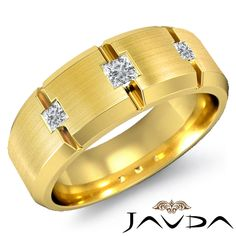 9mm Mens Half Wedding Band 3 Stone Princess Diamond Ring 14k Yellow Gold 0 30ct | eBay