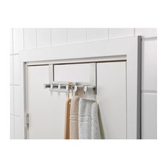 Over-the-door hanger should be used in every bedroom to hold towels, sweaters or pajamas. These are also great for the entrance closet door to quickly hang outdoor clothes.