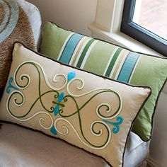 Embroidered Scroll & Stripe reversable pillow from Willow House. via athomewithwillowh. Willow House, Pillow Inspiration, Little Corner, Scatter Cushions, Pillow Talk, Diy Furniture, Home Accessories, Decorative Pillows, Bed Pillows