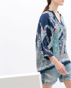 ZARA - WOMAN - PRINTED LOOSE BLOUSE
