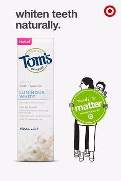 Tom's of Maine Luminous White is a gluten-free toothpaste with clinically proven whitening technology that's safe on enamel and made without artificial colors, flavors or preservatives. It's comprised of biodegradable, mineral-derived ingredients and water, without parabens. This toothpaste and other Tom's of Maine products are part of Made to Matter, handpicked by Target, a group of products from 20 brands created to give you more natural, organic and sustainable options for everyday needs.