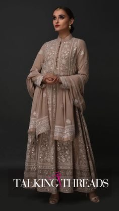 Hazelnut Chikankari Gota Patti And Zari Mirror Work Anarkali Suit Indian Fashion Trends, India Fashion, Ethnic Fashion, Dress Indian Style, Indian Dresses, Ethnic Outfits, Indian Outfits, Indian Attire, Indian Wear