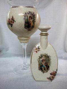 decoupage glass and crackle Xmas decoretion