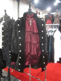Great for Vampires.  This gothic jacket and burgundy shirt.  Soon to be in store 2014. #gothic #vampire #costume