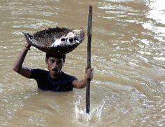 Durante unas inundaciones terribles en la India en 2011, este chico salvó varios gatos llevándolos en una cesta encima de su cabeza