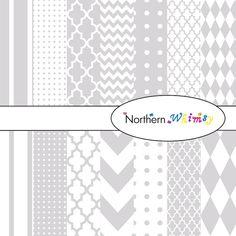 Grey and White Digital Scrapbooking Paper Pack –digi paper in stripes, chevron, polka dot, harlequin, & quatrefoil – instant download CU OK