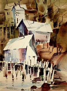 Bits and Pieces by sterling edwards Watercolor ~ 22 x 15
