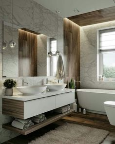 Modern bathroom decorations with white bathroom cabinets Humans have the most basic needs, such as housing and being loved. At the beginning of the right to life, you have to purify, physically purify and . Bathroom Design Luxury, Modern Bathroom Decor, Modern Bathroom Design, Small Bathroom, Bathroom Wall, Luxury Bathrooms, Bathroom Designs, Bathroom Design Inspiration, Bad Inspiration