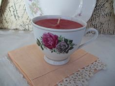 Vintage Rose Tea Cup Candle Strawberry Scented China   #ButterflysPin