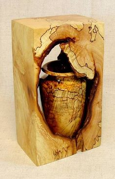 "George Guadiane: ""Reclamation"" - The natural hollow was from where a dead branch had been. The vase was cut from the same part of the same sugar maple.  The outside finish is shellac on oil sanding, rubbed out to a semi-gloss finish. The vase is also oil sanded to 600, shellacked and compounded to a high luster."