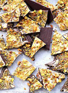 Pistachio Chocolate Bark  - Use vegan white chocolate or all dark chocolate