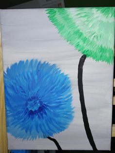 Green Blue flower acryl abstrakt