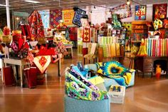 Bright and bold quilting fabrics are the stars at Material Girl quilt shop in Grand Island, Nebraska.