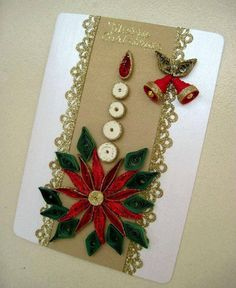 Christmas Card with poinsettia Paper Quilling Cards, Paper Quilling Jewelry, Paper Quilling Patterns, Quilled Paper Art, Quilling Paper Craft, Quilling Designs, Diy Quilling Christmas, Christmas Card Crafts, Handmade Christmas Decorations
