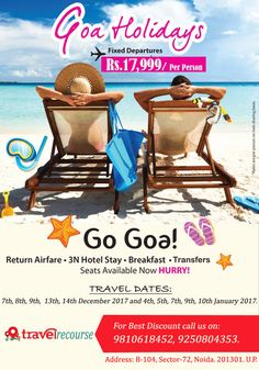 Get best tour package for Goa at affordable costing also make a trip for a day for day picnic. we provide best holiday package at best costing.