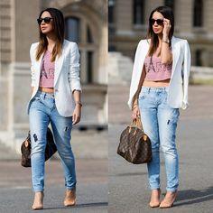 Mango Blazer, Thrift Find Crop Top, Zara Jeans, Louis Vuitton Bag