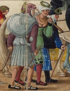 c. 1501 Hans Burckmaier (Hans Burgkmair) -  Triumph of Maximilian I, copy that is in the Biblioteca Nacional de Espana in Madrid. Second file link PAGE 51 detail - fabric pack or sack.