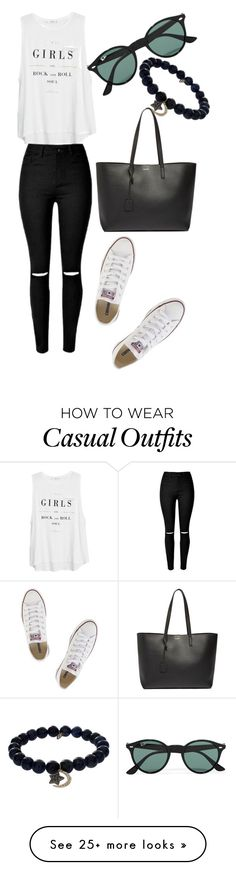 Casual by florcampodonico on Polyvore featuring Converse, MANGO, Yves Saint Laurent, Ray-Ban, Sydney Evan, womens clothing, women, female, woman and misses