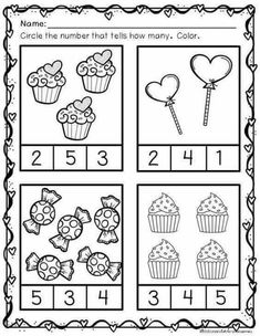 These cute Valentine themed printables include counting practice math concepts such as same/different, taller/shorter, Kindergarten Math Worksheets, Preschool Learning Activities, Preschool Printables, Preschool Activities, Preschool Lessons, Preschool Homework, Math Literacy, Maths, Numbers Preschool