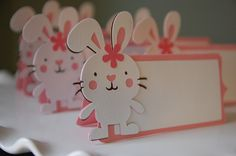Bunny Food Labels, Place Cards, Bunny Party, Bunny Baby Shower, Bunny Theme, 12 Pcs. $11.00, via Etsy.