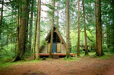 Tiny Homes: Tiny home in Tripple Falls, Oregon, USA from Guardian newspaper 18/08/12. Photograph: Amanda Smith