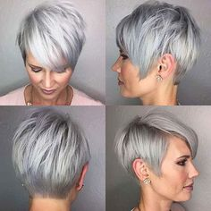 Short Hairstyle Grey Hair 5 Style in 2019 Short grey Grey Hair Styles For Women, Short Hair Cuts For Women, Short Hairstyles For Women, Medium Hair Styles, Long Hair Styles, Hairstyles Over 50, Pixie Hairstyles, Cool Hairstyles, Pixie Haircuts