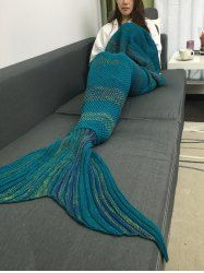 Fashionable Super Soft Crochet Knitted Mermaid Tail Sofa Blanket in Deep Blue | Sammydress.com Mobile