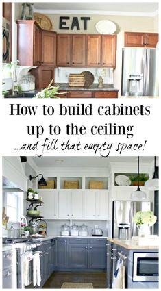 Building cabinets up to the ceiling from Thrifty Decor Chick Diy Kitchen Remodel, Kitchen Upgrades, Kitchen Redo, New Kitchen, Kitchen Ideas, Kitchen Cabinets To Ceiling, Built In Cabinets, Kitchen Flooring, Updating Cabinets