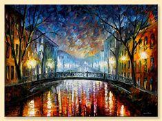 Misty Bridge  Limited Edition Night Colorful by AfremovArtStudio