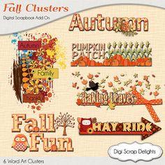 Autumn Cluster Word Art,  Pumpkin Patch, Raking Leaves, Fal Fun, Fall Teacher Clip Art, Birthday Ideas, Instant Download