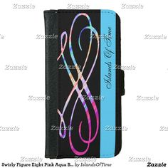 Swirly Figure Eight Pink Aqua Black Name Template Wallet Phone Case For iPhone 6/6s