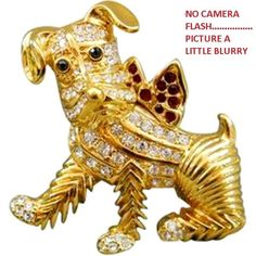 VINTAGE SIGNED KENNETH JAY LANE KJL RUBY SAPPHIRE DIA RHINESTONE TERRIER DOG PIN #KENNETHJAYLANEKJL