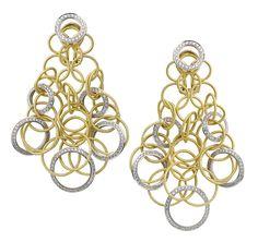 Boucles d'oreilles Hawaii en or jaune, blanc et diamants de Buccellati