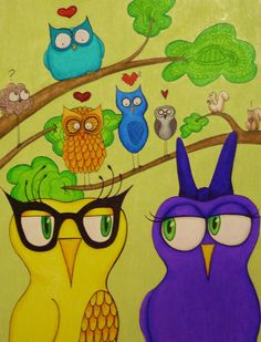 ALMI Art  NEW Owl illustration  85x11 baby owls by crazyladyStyle, $75.00
