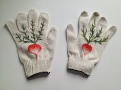 canvas gloves - Red painted radishes.