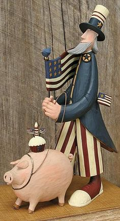Uncle Sam With Pig Figurine - American Folk Art Collectibles & Patriotic Figurines - Williraye Studio $60.00