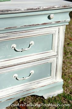 """Shabby Chic End Table...CeCe Caldwells """"Simply White and """"Smoky Mountain"""" - love the white with the aqua..."""