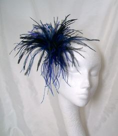 Black & Blue Marilyn Ostrich Feather Fascinator By Gothic Diva Designs Specialising in Fabulous Elegant Gothic, Victorian Vintage & Steampunk inspired wedding designs,  Including mini hat fascinators, formal hats, feathered hair clips, ostrich & peacock f