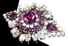 Excited to share the latest addition to my #etsy shop: Purple Ice Rhinestone Brooch Tiered Baguettes Silver Metal Designer Pin Vintage https://etsy.me/2uLZ9vz #jewelry #brooch #clear #gold #no #women #purple #geometric #artdeco