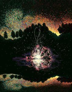 O artista e ilustrador James R. Eads usa cor e movimento para criar ilustrações de pessoas e da natureza. Inspirado pelos céus de Van Gogh seu estilo apresenta a conexão humana e o mundo natural. Eads vive e Los Angeles e seu estúdio é aberto a...