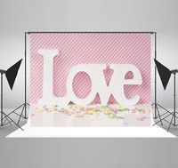 Wish | 7x5ft Pink Photography Backdrops White Love Background for Children Birthday Backdrop