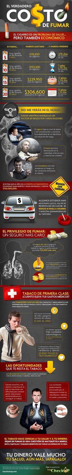 El verdadero #costo de #fumar El #cigarro es un #problema de #salud... pero también #económico #vida #humo #riesgo #segurodevida #tabaquismo #gastosmédicos #hipertensión #cáncer #tabaco #dinero #hazcheckup Homework, Diabetes, Spanish, Infographics, Healthy, Design, Medicine, Shape, Frases