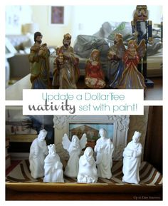 Transform a Dollar Tree nativity set. So easy to do and I finally have a nativity set! :)