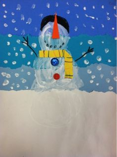 we heart art: torn paper layered landscapes with snowmen. so cute!
