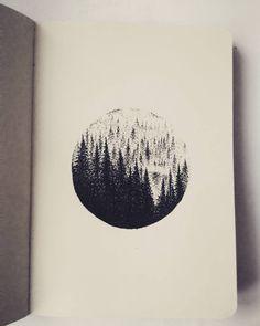 Forest landscape drawing beautiful ideas for 2019 Kunst Inspo, Art Inspo, Art And Illustration, Landscape Drawings, Art Drawings, Kreis Tattoo, Planet Drawing, Kunst Tattoos, Desenho Tattoo