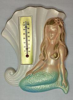 1976 Miller Studio Inc. Chalkware Mermaid Thermometer Vintage Bathroom Wall RV