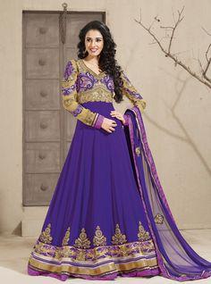 USD 87.47 Purple Embroidery Faux Georgette Long Anarkali Suit  31048