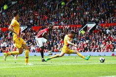 Just four minutes later Paul Pogba double the hosts' lead when he poked home from 12 yards at the Theatre of Dreams Paul Pogba, Manchester United, Yards, Theatre, Basketball Court, The Unit, Dreams, Times, Man United