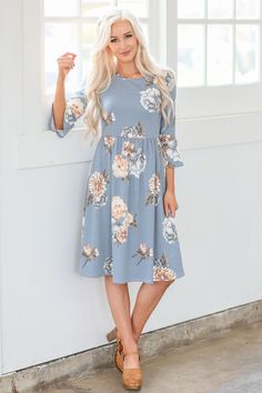 981abef8230d7 Naomi Ruffled Bell Sleeve Modest Easter Dress in Dusty Light Blue w/Floral  Print